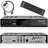 Anadol HD 222 Plus HD HDTV Digital Satellite Receiver (WiFi, HDTV, DVB-S2, HDMI, 2x USB 2.0, Full HD 1080p, YouTube) [Pre-programmed] incl. HDMI Cable - Black