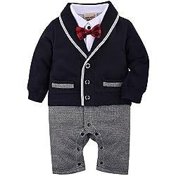 ZOEREA Uno-pedazos del mameluco de los bebés se adapta a la pajarita bautismo smoking de la boda del mono del algodón para la boda bautismo