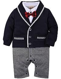 ZOEREA 1 tlg baby Strampler Smoking für Jungen Kleinkind Kleidung rompers Body Kleidung Gentleman Gesamt Baumwolle Langarm bowknot Plaid Streifen Drucken baby Taufe Hochzeit Weihnachten (0-18M)