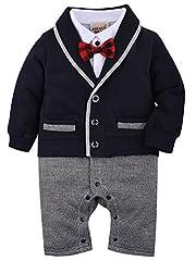 Idea Regalo - ZOEREA 1pcs del neonato Gentleman pagliaccetto Suits smoking tuta con farfallino per il Battesimo di nozze