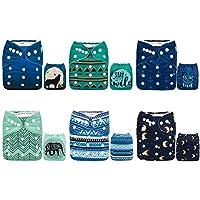 Alva bebé nuevo diseño reutilizable lavable gamuza de bolsillo 6pcs pañales pañales + 12inserciones