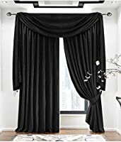 "Plain Velvet Black Lined 90"" X 72"" - 229cm X 183cm Pencil Pleat Curtains from Curtains"