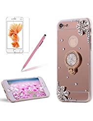 """Coque de Protection pour Apple iPhone 7 / iPhone 8 4.7"""" 3D Fleurs Design,Girlyard Ultra Mince Fine Gel TPU Silicone Couverture Bling Brillant Crystal Clear Miroir Diamant Strass Backcover Etui Housse pour iPhone 7 / iPhone 8 (Or Rose)"""