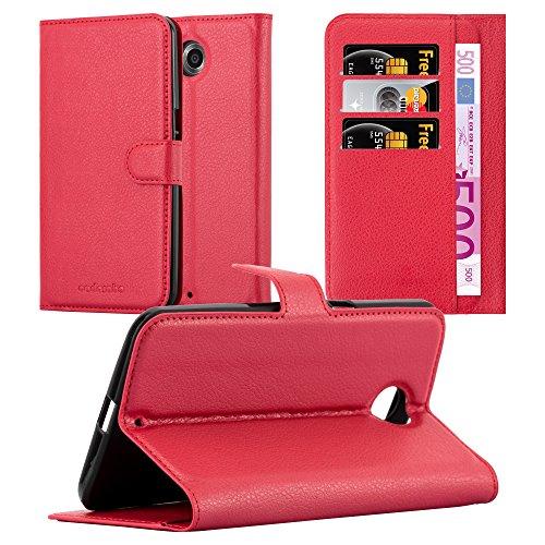 Cadorabo Hülle für Lenovo Google Nexus 6/ 6X Hülle in Karmin Rot Handyhülle mit Kartenfach und Standfunktion Case Cover Schutzhülle Etui Tasche Book Klapp Style Karmin-Rot