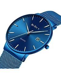 Reloj, reloj casual clásico de acero inoxidable para hombre con banda de malla milanesa, reloj de pulsera de cuarzo…