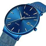 Reloj, reloj casual clásico de acero inoxidable para hombre con banda de malla milanesa, reloj de pulsera de cuarzo analógico casual resistente al agua (azul)