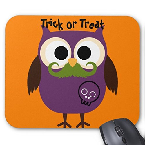 Ouliyou Rechteckiges Mauspad/Mouse Pad-Halloween-Eule mit Schnurrbart