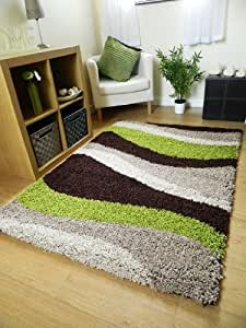 SMALL EXTRA LARGE RUG NEW MODERN SOFT THICK GREEN BROWN BEIGE WAVES SHAGGY RUG NON SHED SHAG RUNNERS (6 SIZES AVAILABLE) (60 X 120 CM)