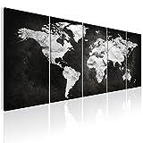decomonkey | Bilder Weltkarte 200x80 cm 5 Teilig | Leinwandbilder Weltkarte | Vlies Leinwand | WandBilder Weltkarte | Wand | Bild | Wandbild | Kunstdruck | Wanddeko Welt Karte Kontinente Landkarte DKA0105a5M
