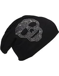 Jersey Slouch Beanie Long Mütze mit Totenkopf Strass Applikation Unisex Unifarbe Herren Damen Trend