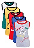 #9: Gkidz Infants Pack of 5 Mom & Dad Printed Vest T-Shirts Theme-4