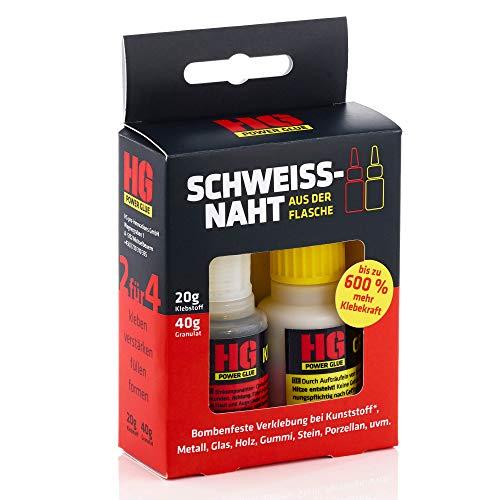 Die Schweißnaht aus der Flasche by HG Power Glue | Profi-Kleber-Set für Kunststoff (Plastik) Metall Holz
