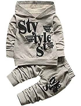 2 Stück Kinderkleidung Set Hirolan Baby Kapuzenpullover mantel Outfits Kleinkind Junge Stil Beschriftung Hoodie...