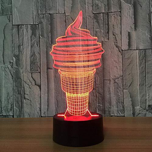 3D Lampe Lampe 3D Illusion LED Licht Nachtlicht Dekoratives 7 Farben Smart Touch Button&Remote&USB Kreative Dekorationen Eis für Kinder Baby Boy Geburtstag Weihnachtsgeschenk