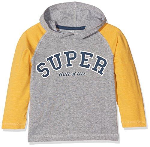 NAME IT Nitfellon Ls Top W. Hood Mini, Camisa Manga Larga para Bebés, Multicolor (Grey Melange), 92