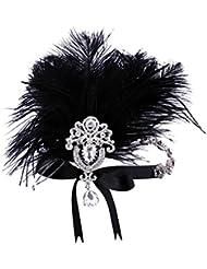 Babeyond Damen Ostrish Feder Kristall-Stirnband Brautstirnbänder Weinlese-Feder-Stirnband Zwanzigerjahre für Brautjungfern-Blumen-Mädchen