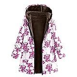 TianWlio Jacken Parka Mäntel Herbst Winter Warme Jacken Strickjacken Damen Mäntel Winter Warm Outwear Blumen Mäntel Taschen Mit Kapuze Drucken Weinlese Übergroße Mäntel XL