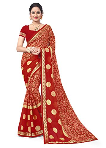 Oomph! Women's Printed Brasso Sarees - Crimson Red
