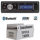 Toyota Yaris P1 1999-2003 - Autoradio Radio Caliber RMD020BT - Bluetooth | MP3 | USB | Einbauzubehör - Einbauset
