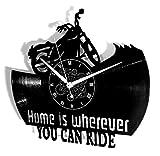 Horloge Murale en Vinyle Cadeau Fait Main Décorations Pour la Maison Home Office Motocycliste Riders