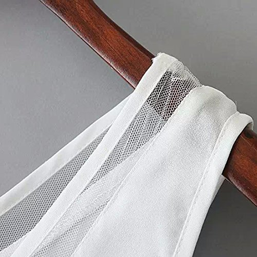 QIYUN.Z Frauen Sommer Chiffon Sleeveless V-Ausschnitt Unregelmäßige Randweste Rückenfrei Shirts Netz Weiß