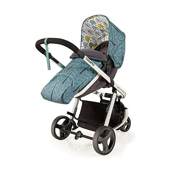 Cosatto Giggle Mix pram and Pushchair in Fjord with car seat Base & raincover Cosatto Includes: Chassis,Seat unit, Hold Car seat,Isofix base,Car seat adaptors,Raincover, Apron and 4 Year guarantee(UK and Ireland only) Suitable from birth up to 15kg. One unit transforms from newborn pram mode into pushchair mode. Space saving. No need to buy separate carrycot.. Colour packs available so you can change the look to suit your mood, family and adventures. Includes hood, pram apron and padded pushchair apron. 6