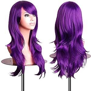 """EmaxDesign Wigs - Parrucca da 70 cm / 28"""", anche per Cosplay, lunga, folta, con riccioli ampi, fibra resistente alle alte temperature, Accessorio di pregio dotato di pettinino e retina, viola scuro"""