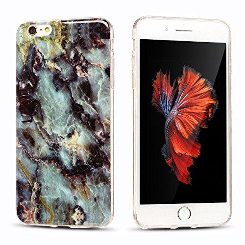 iPhone 6Plus Custodia, Marmo Design Pattern TPU sottile in silicone Custodia protettiva per iPhone 6Plus, E Lush cristallo trasparente trasparente antigraffio Custodia Ultra Chic Thin Morbido Custod Grau und lila