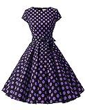 Dressystar DS1956 Robe à 'Audrey Hepburn' Classique Vintage 50's 60's Style à Mancheron Noir à Pois Pourpre B XXXL