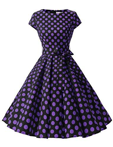 Dressystar Damen Vintage 50er Cap Sleeves Dot Einfarbig Rockabilly Swing Kleider Schwarz Purpur Dot B M (Kleider-stil)