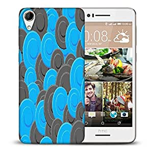 Snoogg Blue Grey Pattern Printed Protective Phone Back Case Cover For HTC Desire 728
