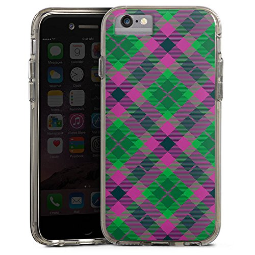 Apple iPhone 6 Plus Bumper Hülle Bumper Case Glitzer Hülle Karo Schotte Green Bumper Case transparent grau