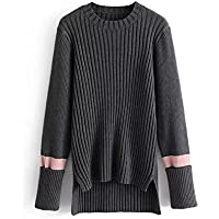 Winter Women's Europa y los Estados Unidos Winter Sweater Mujeres Wild Thin Long Style Red Stripe Stitching Sweater, Gris oscuro, Un tamaño