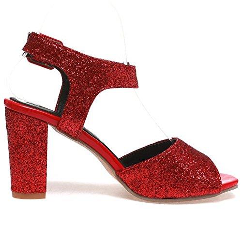 COOLCEPT Damen Mode Knochelriemchen Sandalen Blockabsatz Peep Toe Slingback Schuhe Gr Rot