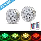 SUNICOL Submersible LED Light, 2 Packs of 10LEDs 16 Changing Colours IP68 Pond Light with Timer Function, Waterproof Diving Light for Pond Pool