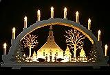 Großer Schwibbogen 70cm, LED-Vorbeleuchtung, 10 Kerzen, Seiffener Kirche Handarbeit Erzgebirge