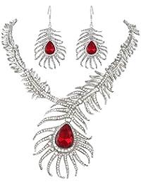 Ever Faith - Estilo Retro Pavo Real Pluma Lágrimas Collar Enganchos Pendientes Set Cristal Austriaco - Rojo N04039-2