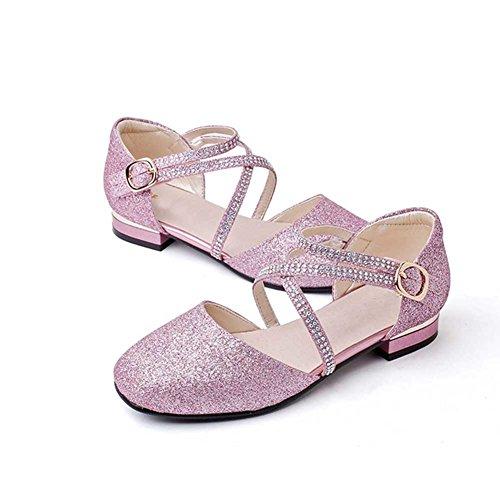 HXD Mädchen Prinzessin Schuhe Kostüm Ballerina Ballerina Flache Sandalen Festliche Mädchenschuhe...