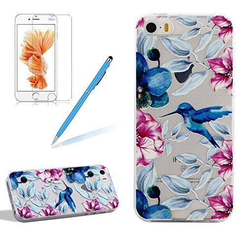 Silikon Transparent Hülle für iPhone 5S, Girlyard Weiche TPU Case Blau Vogel Blumen Ultra Dünn Flexible Crystal Klar Backcover Anti-Kratz Anti-Fingerabdruck Schutzhülle für Apple iPhone 5 5S SE