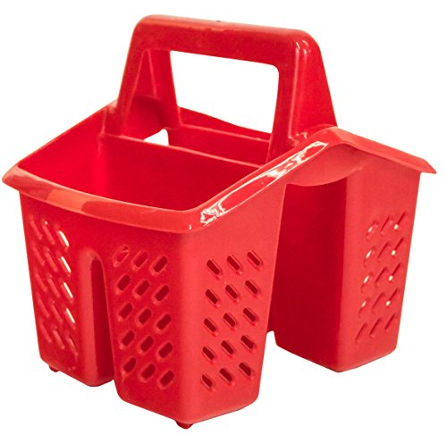 Red 4 Compartment Plastic Sink Tidy Filter Cutlery Drainer Caddy with Handle