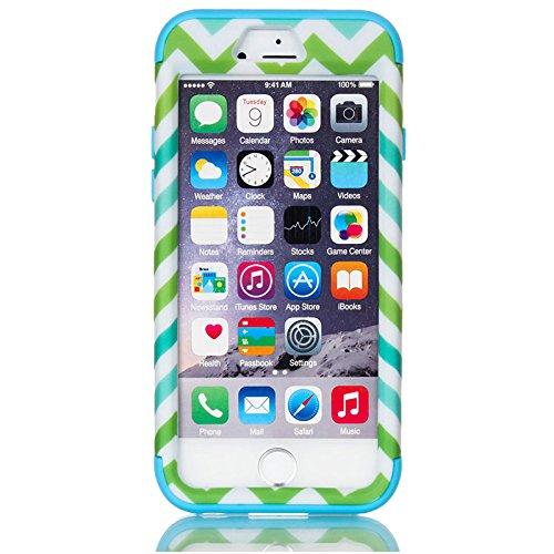 JNTworld iphone 6 6s case Imprimé hybride protection silicone antichoc Cover, noir bleu