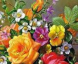 Slbince digitales DIY ölgemälde durch Zahlen leinwand Bild färbung acryl Zeichnung durch Nummer Blumen pigmentfarbe