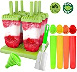 Molde para Helados, Gyvazla Reutilizable Moldes Silicona, 6 Fabricantes de Paletas Heladas, 4 Moldes de silicona para helados, LFGB y Libre de BPA, con Cepillo de Limpieza y Plegable Embudo