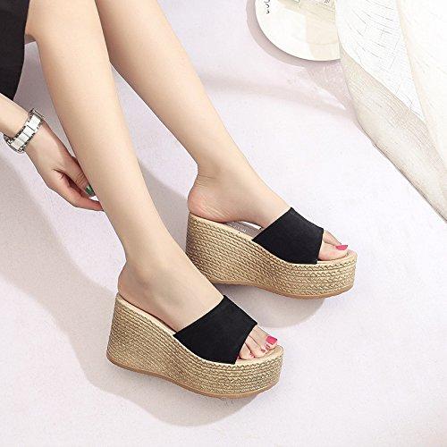 ZPPZZP Ms sandali pantofole Stile minimalista in stile occidentale a tacco alto 37EU spesso nero 36EU