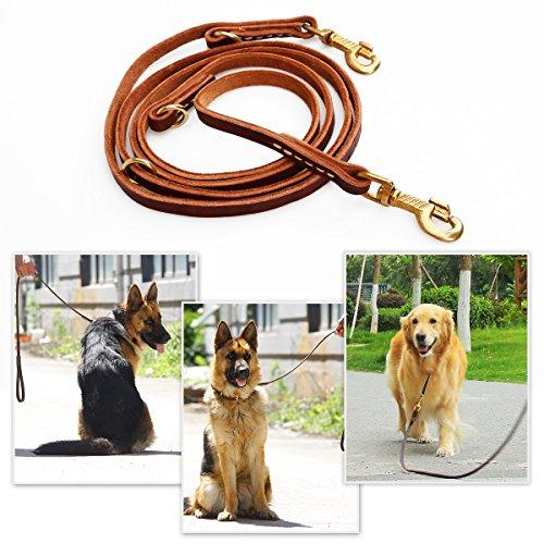 Han Lucky Star Hundeleine Leder, 250X1.2cm Hundeleine aus Leder Geflochtene Leder Hundeleine Wasserdichte Hunde Lederleine Für Große Hunde und mittlere Hunde braun