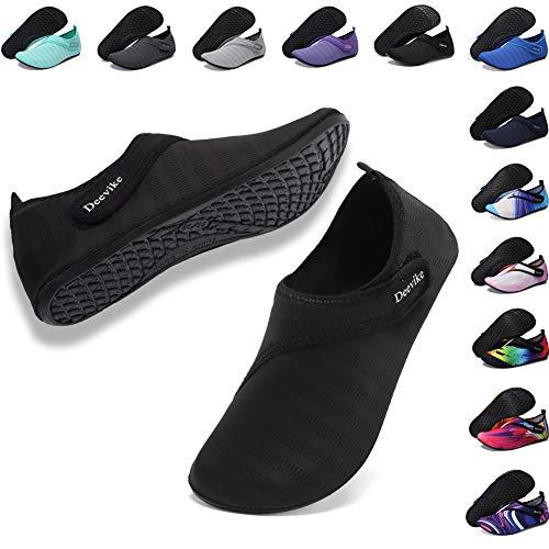 Deevike Damen Water Shoes Herren Barfuß Aqua Socken Slip on Yoga Übungsschuhe für Strandschwimmen Surf Pool Tauchen Schwarz Straps 42/43 -