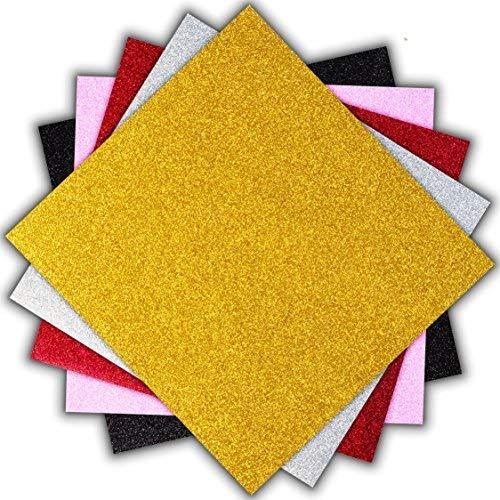 Transferfolie Vinyl Glitzer Wärmeübertragung Papier Mehrfarbig/T Shirt Heat Transfer/5 Blätt/Transferpresse Vinylfolie, Textilfolie, Transferpapier/Silhouette Cameo, Cricut/25,6 X 24,4 cm/Mod.5G1