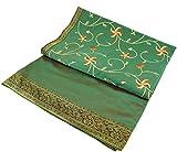 Guru-Shop Brokat- Samtdecke, Tagesdecke, Bettüberwurf - Blümchen/grün, Synthetisch, 270x230 cm, Patchwork Steppdecke aus Indien