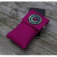 zigbaxx Handyhülle - u.a. für iPhone 8/7/6, iPhone 8/7/6 plus / Smartphone-Hülle IBIZA aus Woll-Filz mit Stickapplikation - anthrazit-schwarz / pink / grau - Geschenk Ostern Weihnachten Geburtstag Valentinstag Muttertag