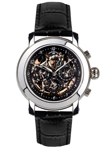 André Belfort 410150 - Reloj analógico de caballero automático con correa de piel negra - sumergible a 50 metros